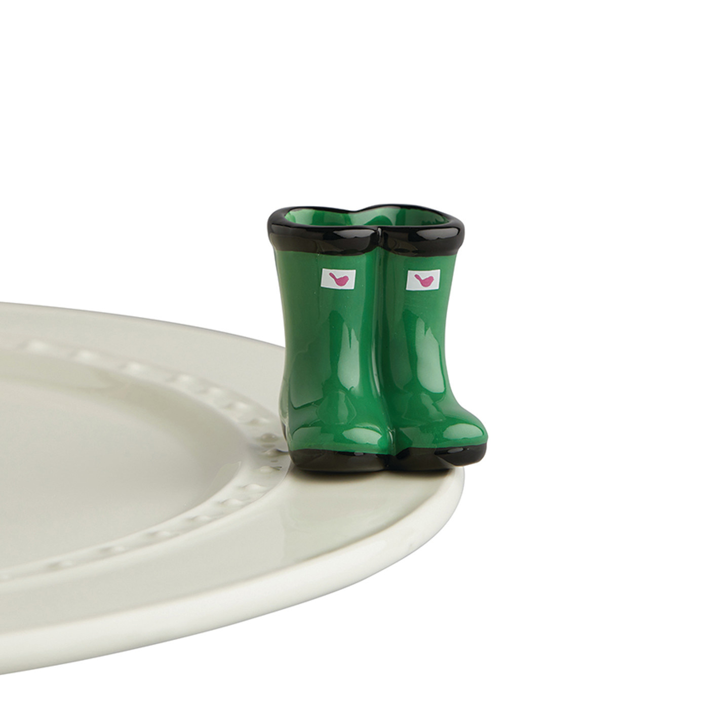 nora fleming jumpin' puddles mini (green wellies boots)