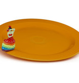 nora fleming Fiesta platter with dancing lady (authentic Fiestaware)