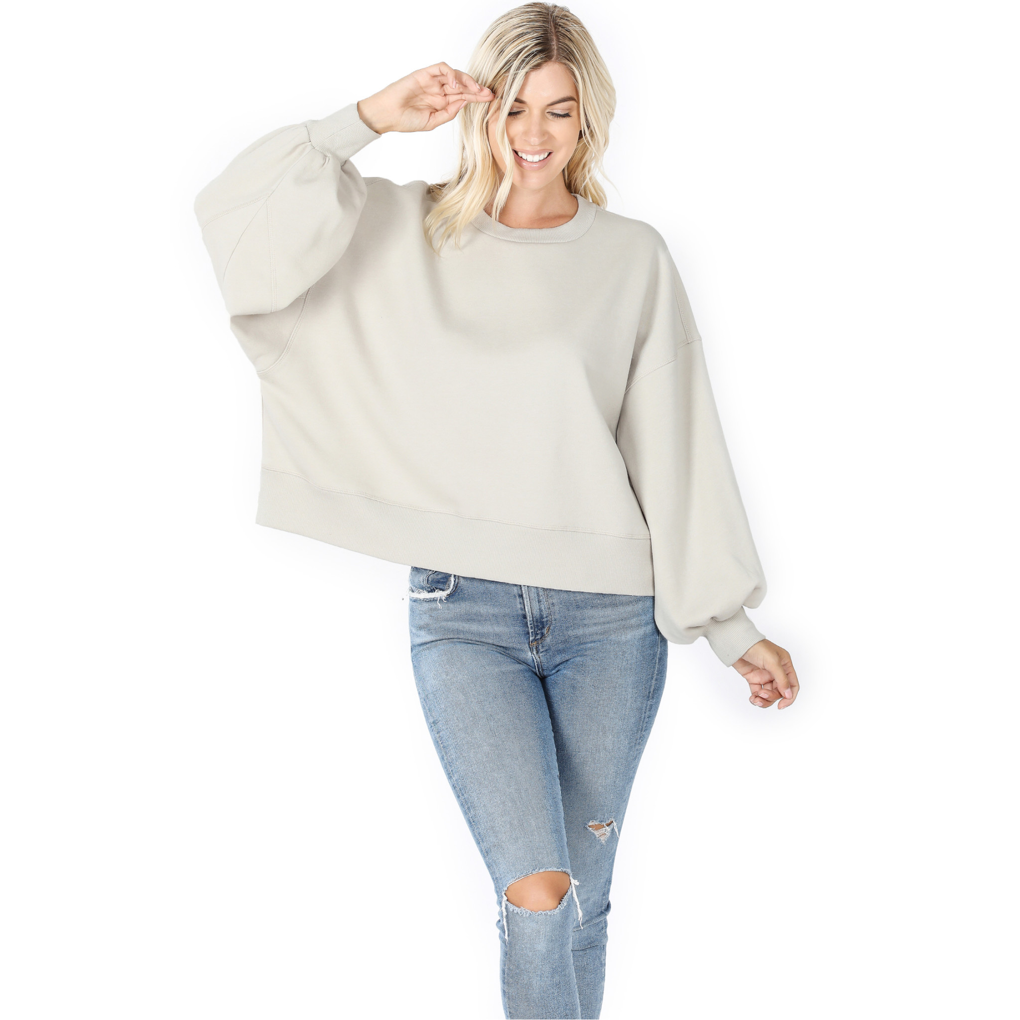 Fleurish Home Balloon Sleeve Sweatshirt