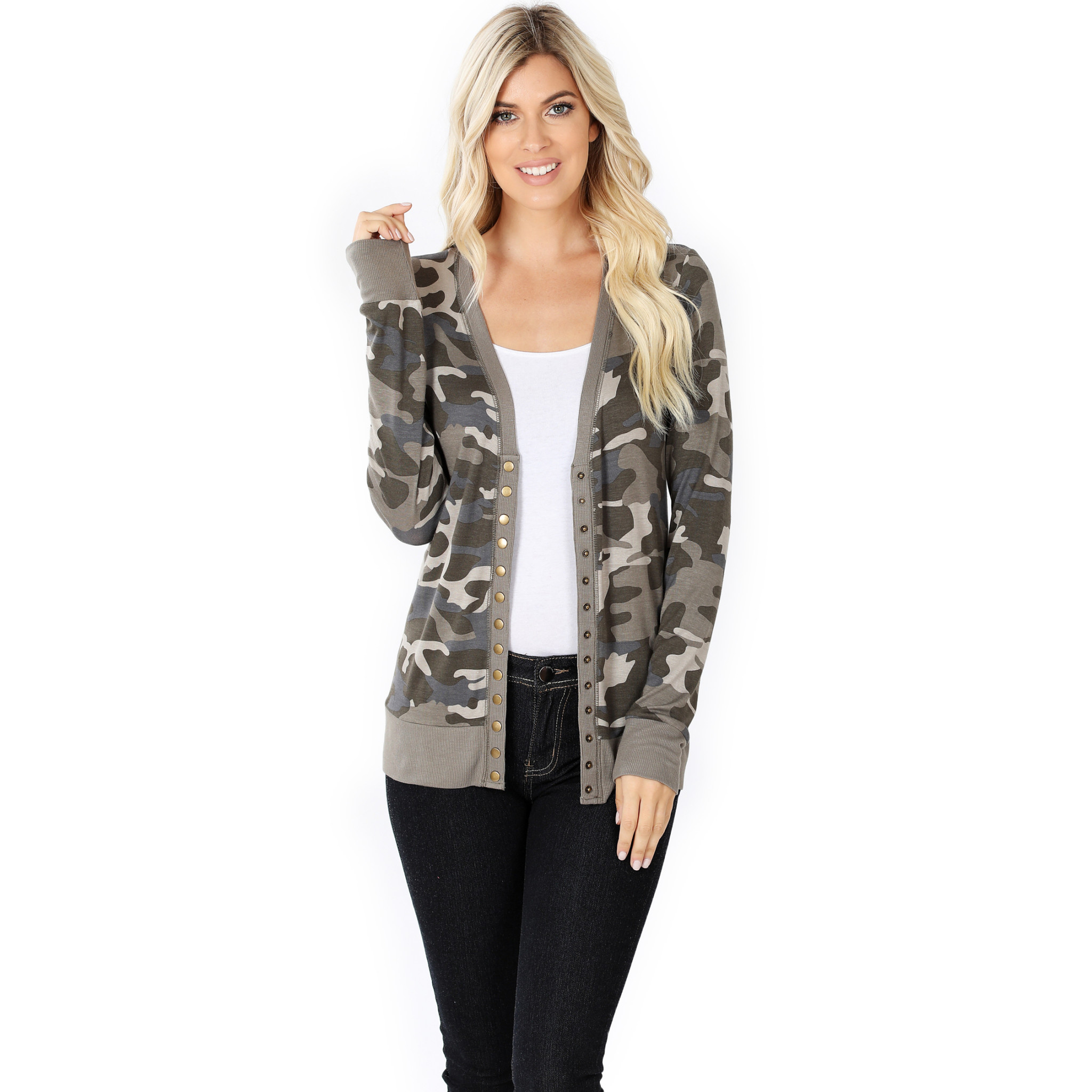 Fleurish Home Dusty Camo Snap Front Cardigan
