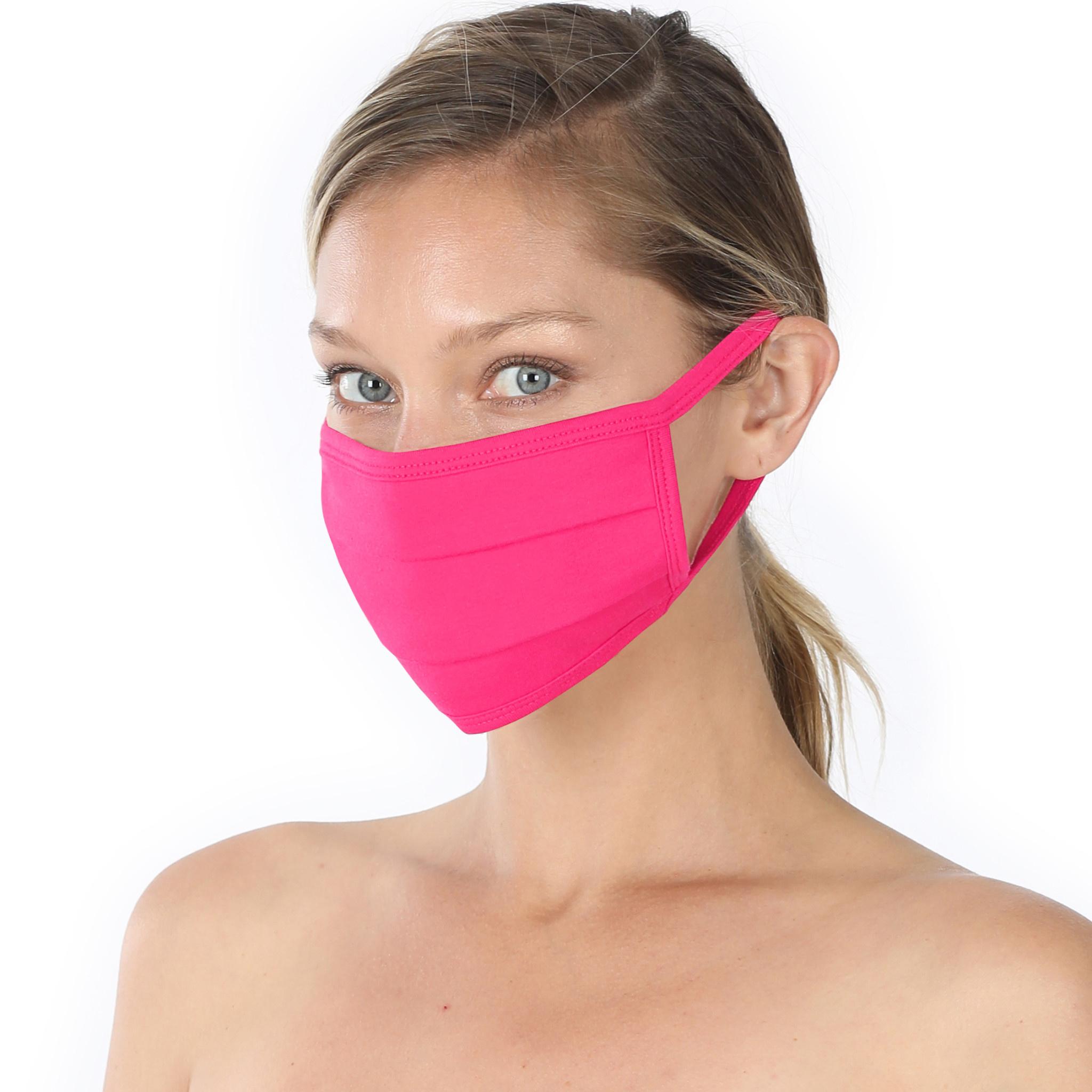 Fleurish Home Simple Cotton Fashion Mask: Hot Pink