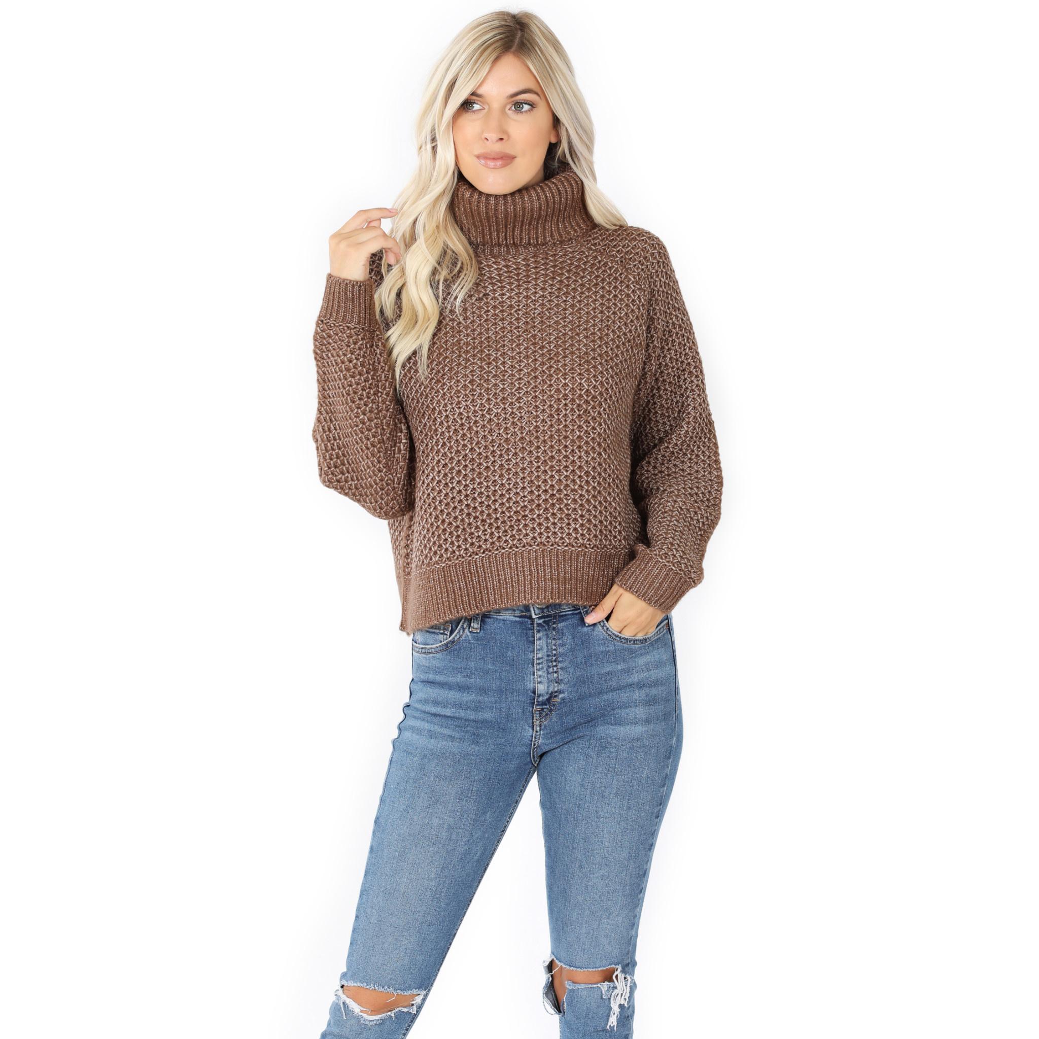 Fleurish Home Mocha Melange Turtleneck Sweater