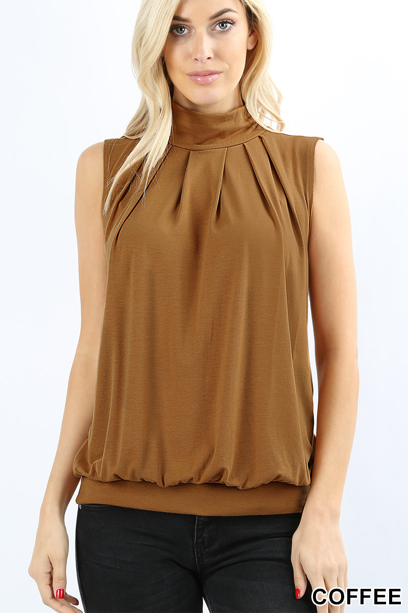 Fleurish Home Signature Pleated High Neck Sleeveless Top