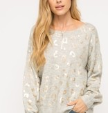Fleurish Home Grey Sweater w Metallic Leopard Print