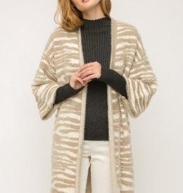 Fleurish Home Taupe/Cream Tiger Stripe Long Cardigan