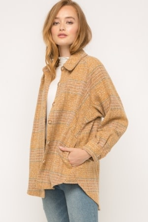 Fleurish Home Mustard Mix Plaid Shirt Jacket