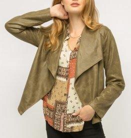 Fleurish Home Olive Lightweight Vegan Leather Open Front Jacket