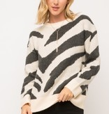 Fleurish Home Cream/Black Zebra Sweater
