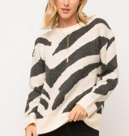 Fleurish Home Cream/Black Zebra Sweater *last chance