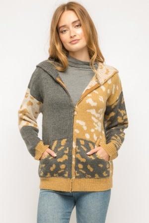 Fleurish Home Mixed Leopard Mustard & Charcoal Zip Up Hoodie Sweater