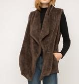 Fleurish Home Chocolate Faux Fur Drape Front Vest
