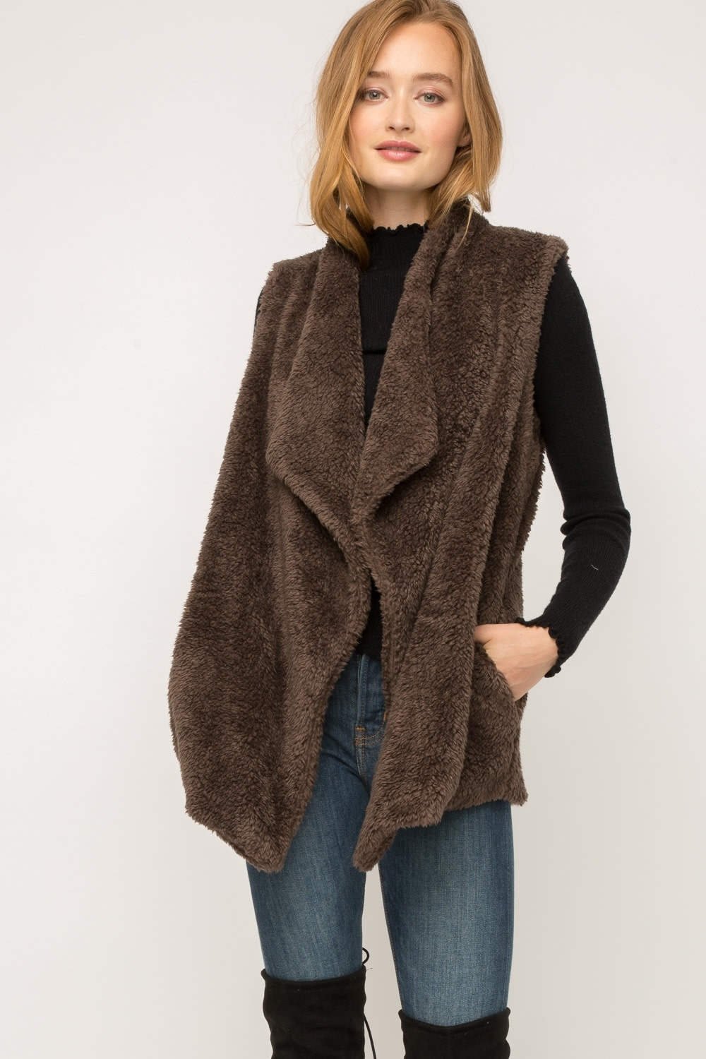 Fleurish Home Chocolate Faux Fur Drape Front Vest