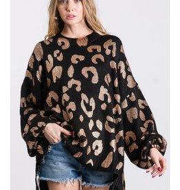 Fleurish Home Black Oversized Metallic Leopard Print Sweater