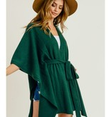 Fleurish Home Hunter Green Belted Poncho*