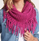 Fleurish Home Two-Toned Open Knit Infinity Scarf w Long Fringe