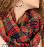 Fleurish Home Multi-Color Fall Plaid Infinity Scarf