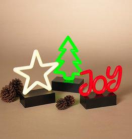 Fleurish Home Sm LED Holiday Neon Decor on Black Base (choice of star, tree or joy)