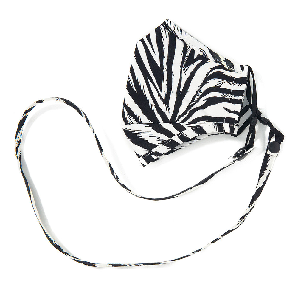 Fleurish Home Zebra Fashion Mask w Matching Mask Strap/Lanyard