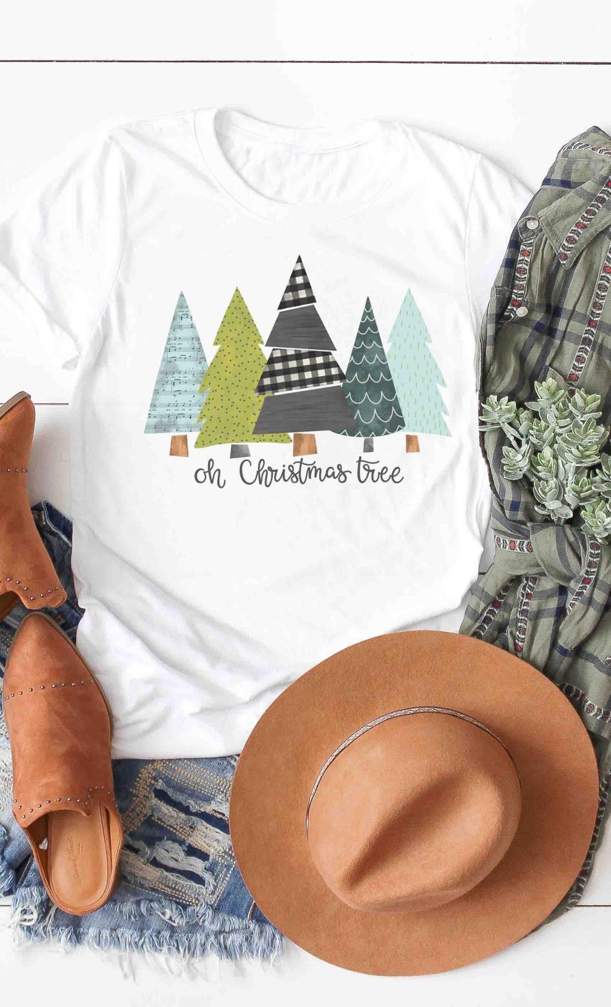 Fleurish Home Oh Christmas Tree Graphic Tee (white)