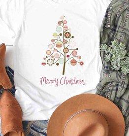 Fleurish Home Merry Christmas Modern Tree w Ornaments Tee (white)