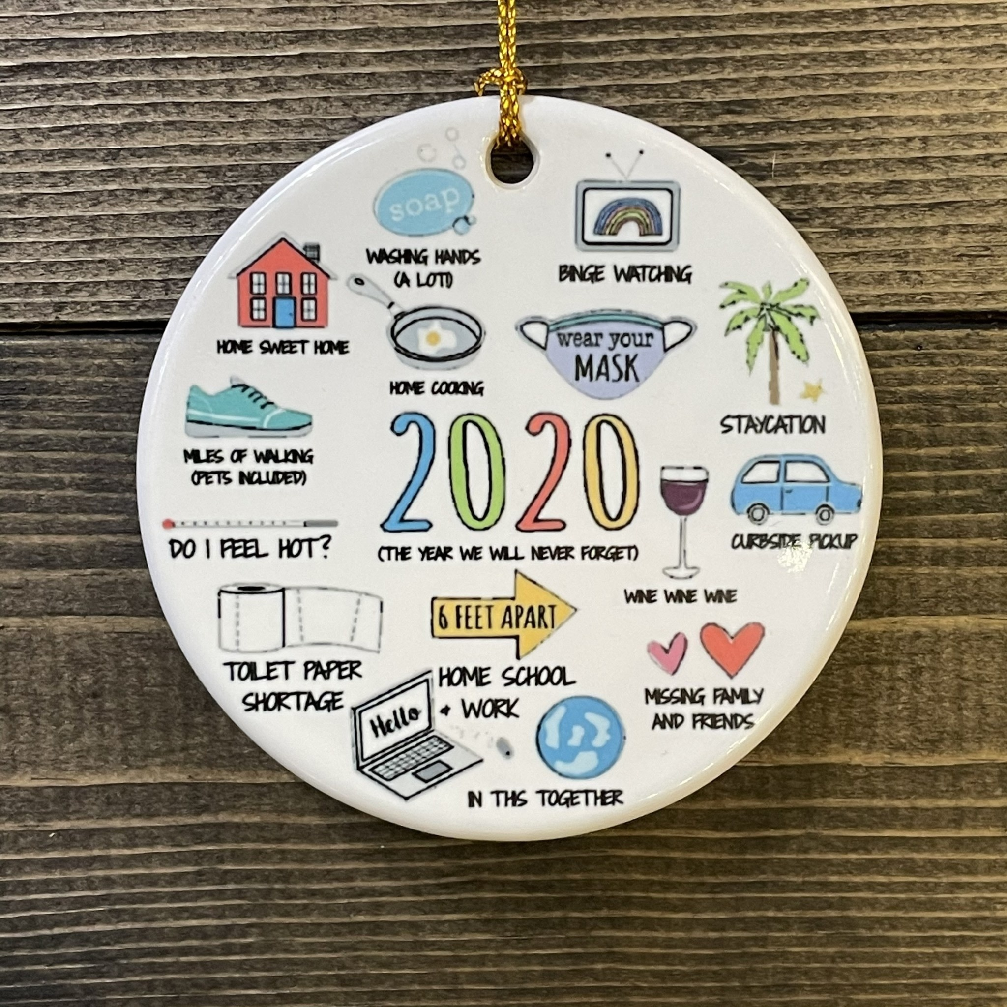 Fleurish Home Wood 2020 Year in Icons Ornament