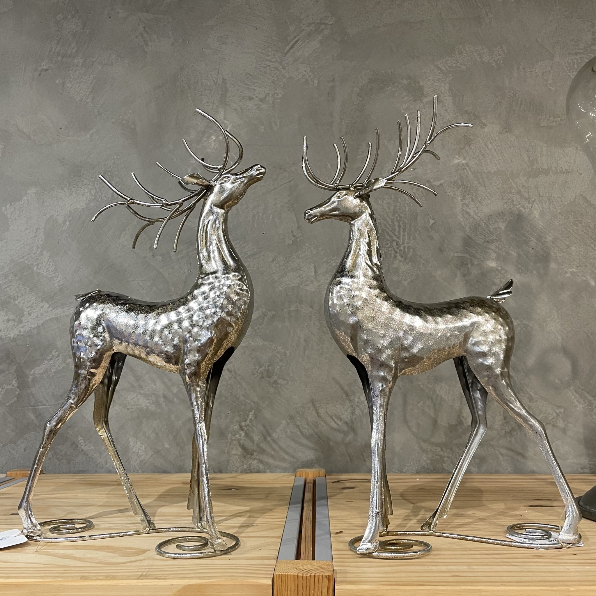 "Fleurish Home Silver Metal Deer Decor 16""H (choice of 2 styles)"