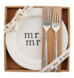 Mudpie MR AND MRS CAKE PLATE SET