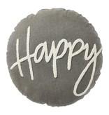 Mudpie HAPPY ROUND CANVAS PILLOW