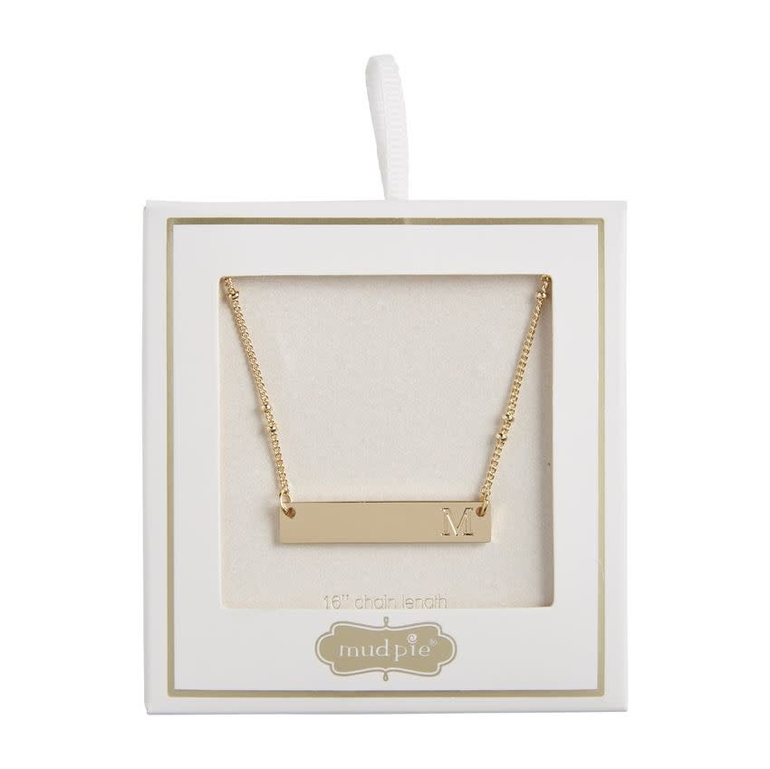Mudpie INITIAL BAR NECKLACE M