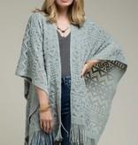 Fleurish Home Pattern Knit Ruana (One Size) Poncho