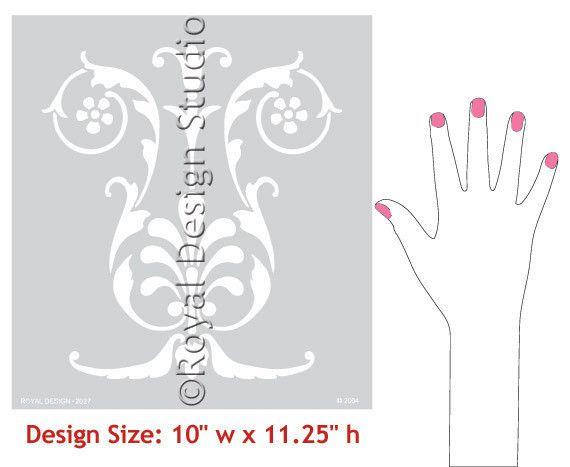 Royal Design Studios Floral Shell Panel Stencil