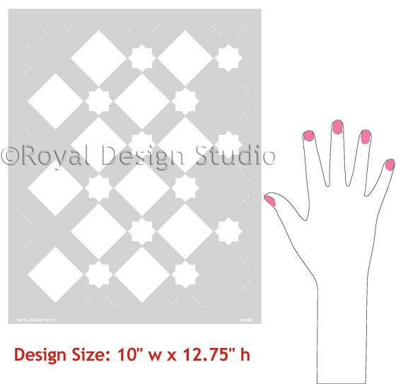 Royal Design Studios Sm Star Diamonds Stencil