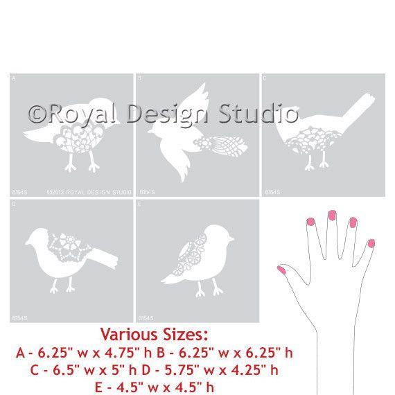 Royal Design Studios Sm Sweet Tweets B Stencil