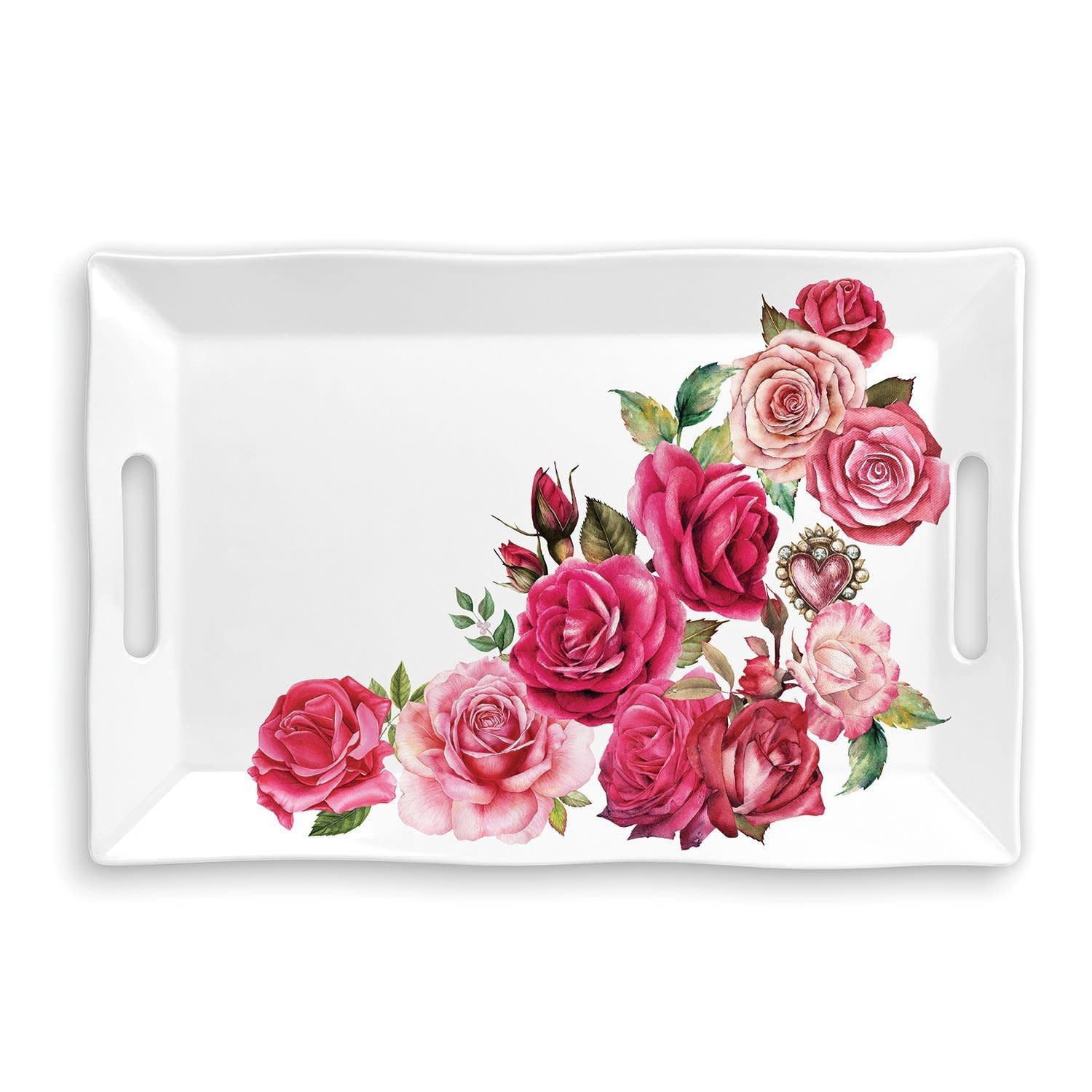 Michel Design Works Royal Rose Melamine Serveware Large Tray