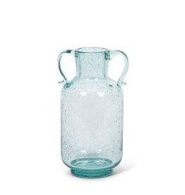 Fleurish Home Blue Glass Dual Handled Bistro Vase