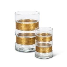 Fleurish Home LARGE Glass Vase W/ Metal Accent