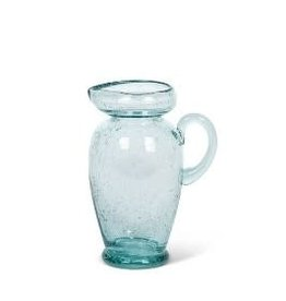 Fleurish Home Blue Glass Pitcher Shaped Bistro Vase