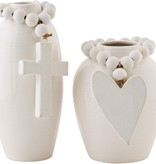 Mudpie WIDE VASE WITH BEADS (heart style)