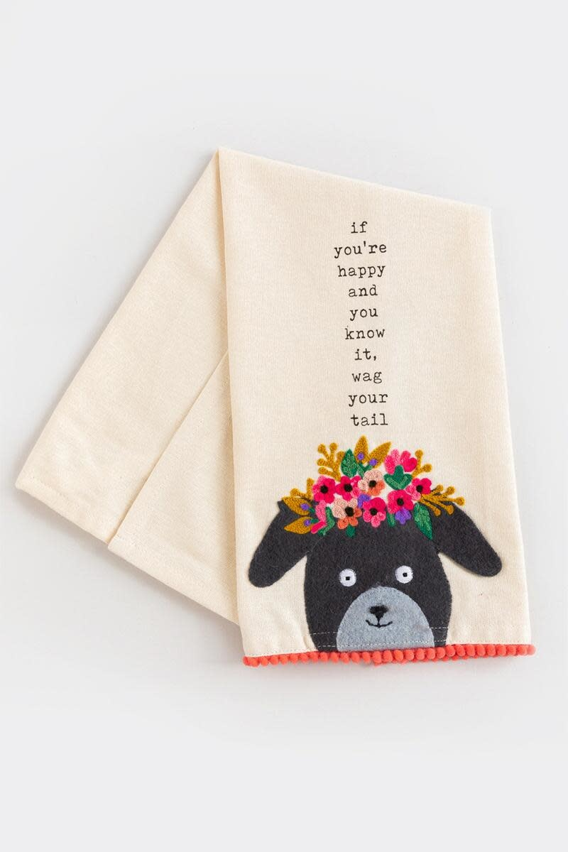 Mudpie HAPPY EMBROIDERED TOWEL