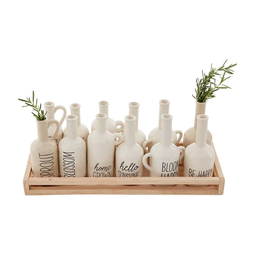 Mudpie Bud Vase with Saying (assorted styles available)