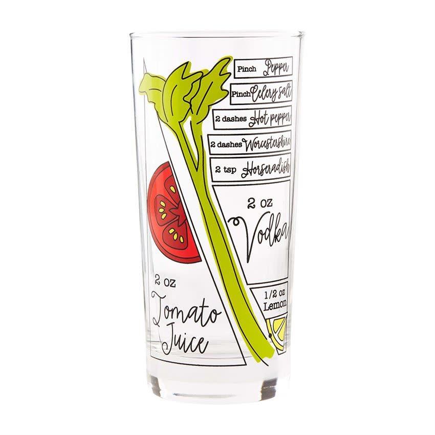 Mudpie HIGHBALLSHAPED BRUNCH RECIPE GLASS: BLOODY MARY