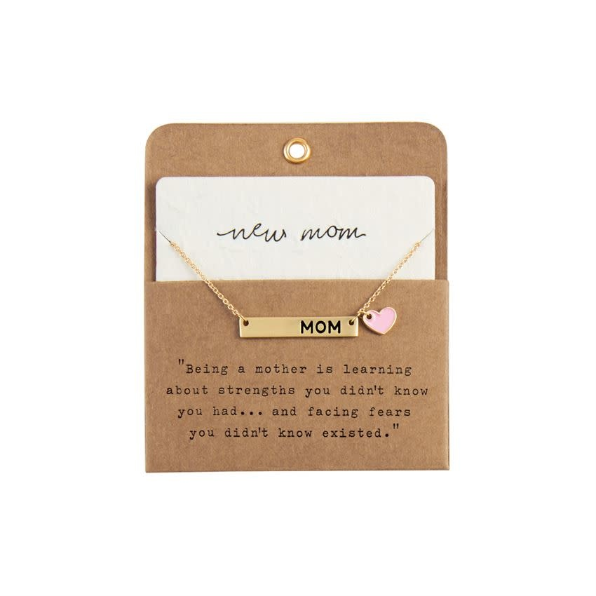 Mudpie PINK NEW MOM NECKLACE