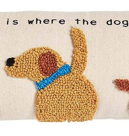 Mudpie HOME DOG CANVAS HOOK PILLOW