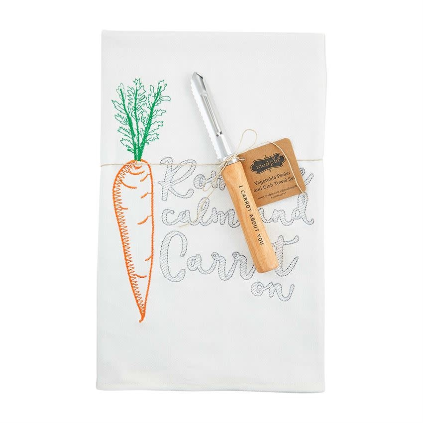 Mudpie CARROT TOWEL WITH TOOL SET