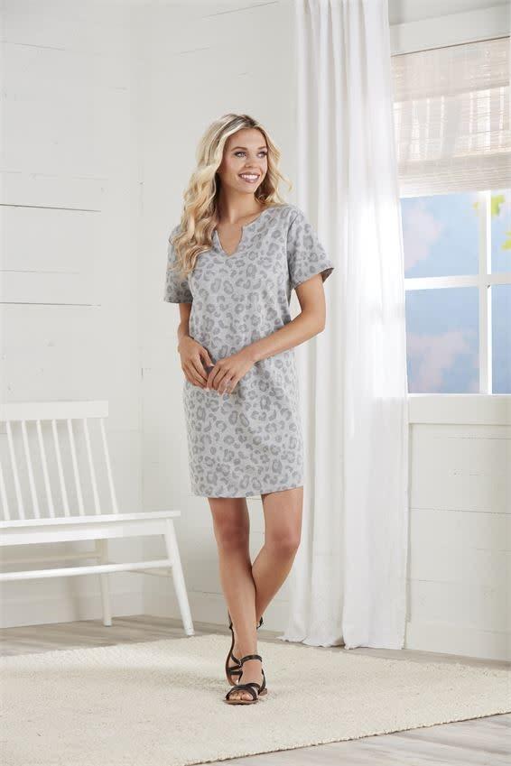 Mudpie Grey Leopard Cassidy V-Neck Dress