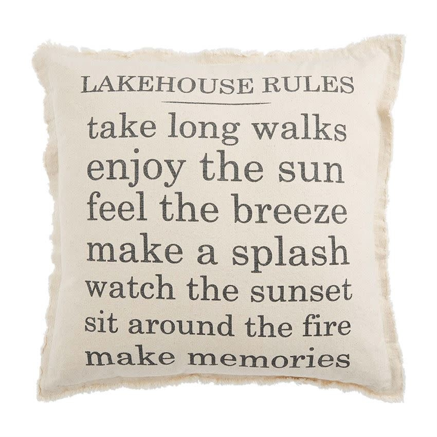 Mudpie Lake House Rules Pillow