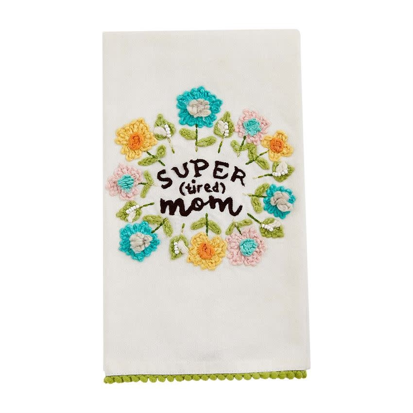 Mudpie SUPER MOM FLORAL TOWEL