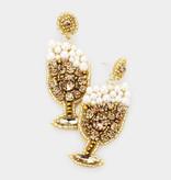 Fleurish Home Felt Back Pearl Round Stone Cluster Champagne Dangle Earrings - Lt Col Topaz
