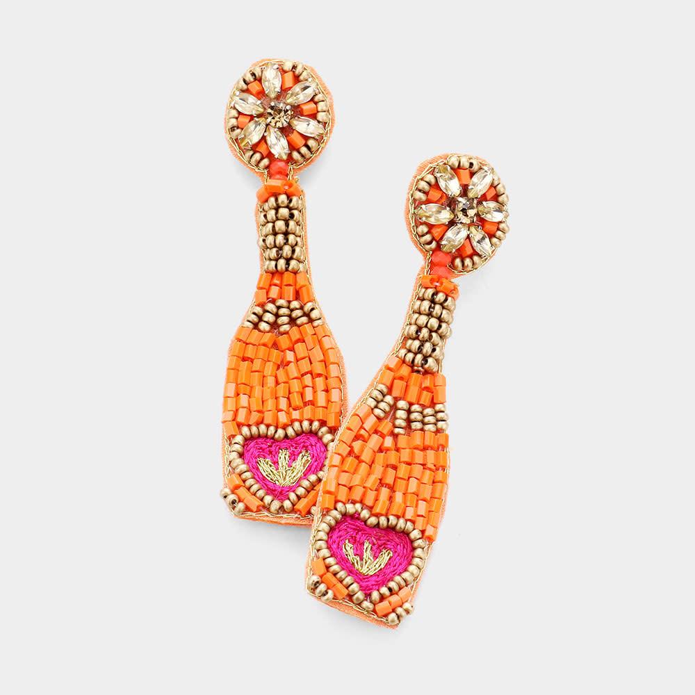 Fleurish Home Felt Back Heart Accented Beaded Champagne Dangle Earrings - Orange