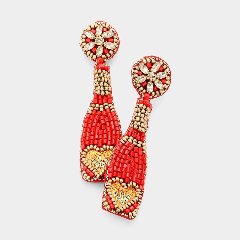 Fleurish Home Felt Back Heart Accented Beaded Champagne Dangle Earrings - Red